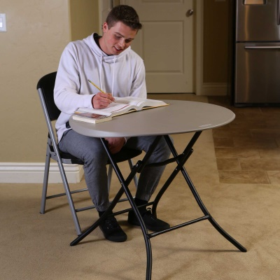 33 in. Round Folding Table (Putty), image 6