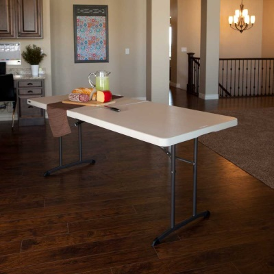 6 ft. Commercial Fold-In-Half Table 6 Pack Almond, image 3