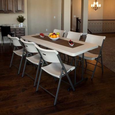 6 ft. Commercial Fold-In-Half Table 6 Pack Almond, image 4