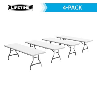 8 Ft Commercial Stacking Folding Table 27 Pack (White Granite), image 3