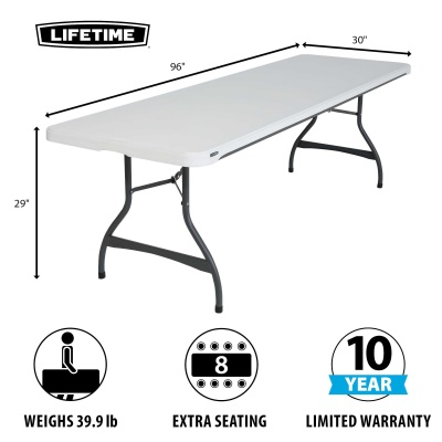 8 Ft Commercial Stacking Folding Table 27 Pack (White Granite), image 4