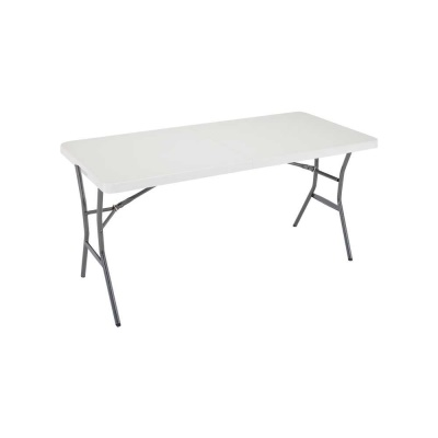 5 ft. Light Commercial Fold-In-Half Table (Pearl), image 1