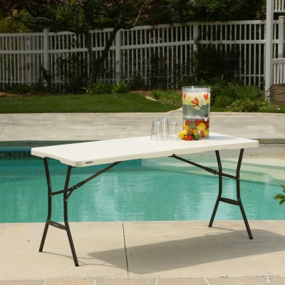 5 ft. Light Commercial Fold-In-Half Table (Pearl), image 6