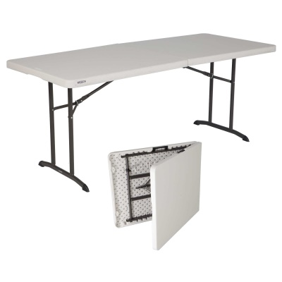 Lifetime 6 ft. Commercial Fold-In-Half Table with Handle (Almond), image 1