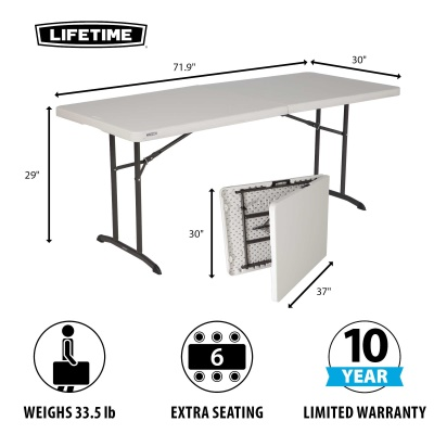 Lifetime 6 ft. Commercial Fold-In-Half Table with Handle (Almond), image 2