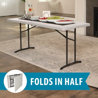 Lifetime 6 ft. Commercial Fold-In-Half Table with Handle (Almond), image 3
