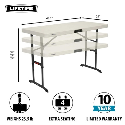 Commercial Adjustable Height Folding Table (Almond)