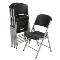 Lifetime Commercial Contoured Folding Chair 4 Pack (Black with Silver Frame)