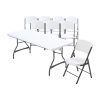 6 ft Stacking Tables and Chairs Set (White Granite)