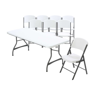 6 ft Stacking Tables and Chairs Set (White Granite), image 1