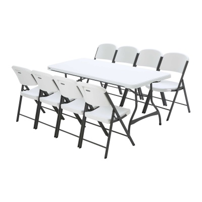 6 ft Stacking Tables and Chairs Set (White Granite), image 2