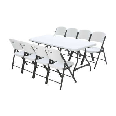 6 ft Stacking Tables and Chairs Set (White Granite), image 3