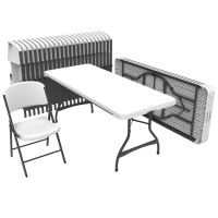 6 ft Rectangular Tables and Chairs Set (White Granite)