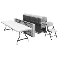 Lifetime 8 ft Rectangular Stacking Tables and Chairs Set (White Granite)