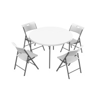 48 in. Round  Fold-In-Half Table and Chair Set (White Granite)