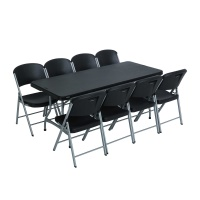 6 ft Stacking Tables and Chairs Combo (Black)