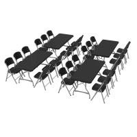 6 ft Rectangular Tables and Chairs Set (Black)