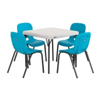 Children's Table and Chairs Combo  (Glacer Blue Chair, Almond Table)