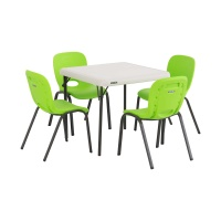 Children's Table and Chairs Combo  (Lime Green Chair, Almond Table)