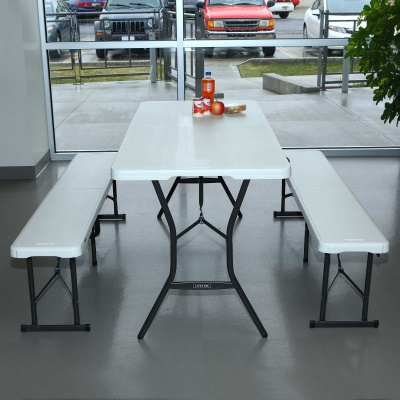 5 Ft Portable Fold In Half Table And Bench Combo