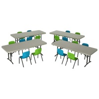 Children's Chair and Table Combo  (Glacier Blue and Lime Green Chairs, Almond Table)