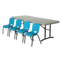 Children's Chair and Table Combo  (Glacier Blue Chairs, Almond Table)
