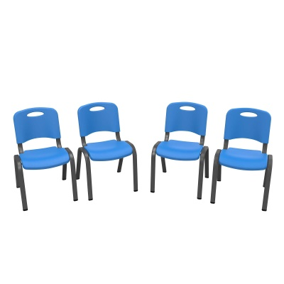 Commercial Children's Stacking Chair 4-Pack (Dragonfly Blue), image 1