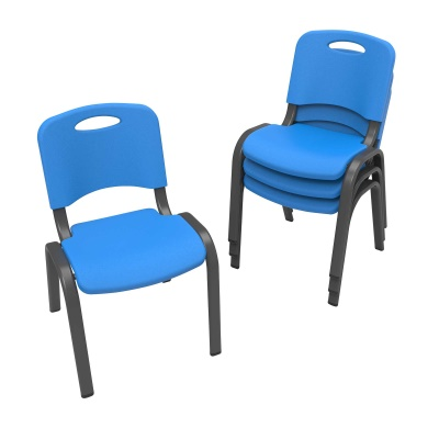 Commercial Children's Stacking Chair 4-Pack (Dragonfly Blue), image 2