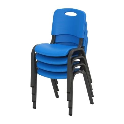 Commercial Children's Stacking Chair 4-Pack (Dragonfly Blue), image 3