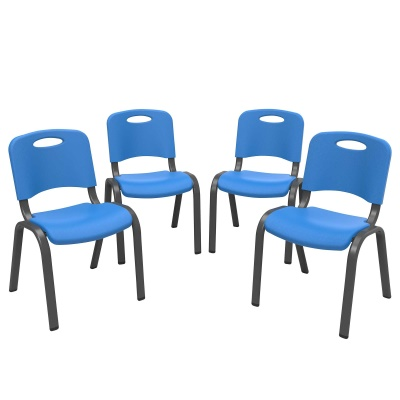 Commercial Children's Stacking Chair 4-Pack (Dragonfly Blue), image 4