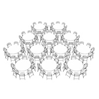60 in. Commercial Round Tables and Chairs Bulk Set (White Granite)