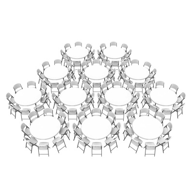 Superb Commercial Round Tables And Chairs Bulk Set (White Granite)