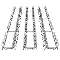 8 ft Stacking Tables and Chairs Combo (White Granite)