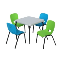 Children's Table and Chairs Combo  (Glacier Blue Chair, Lime Green Chair, Almond Table)