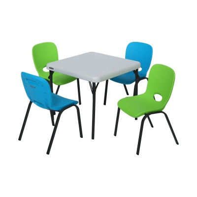 Children's Table and Chairs Combo  (Glacier Blue Chair, Lime Green Chair, Almond Table), image 1