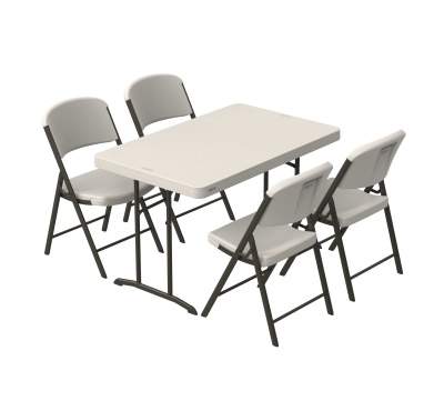 4 ft. Commercial Plastic Folding Tables 30 in. wide (Almond), image 3