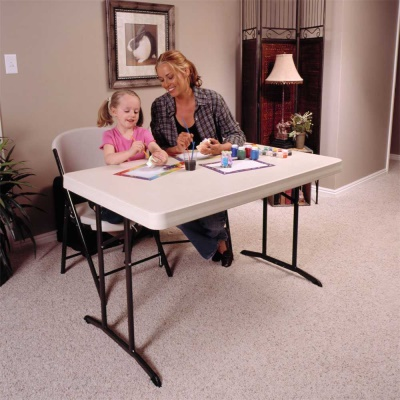 4 ft. Commercial Plastic Folding Tables 30 in. wide (Almond), image 4