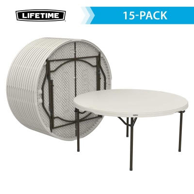 Lifetime 60 Inch Round Commercial Stacking Folding Table 15 Pack (almond)