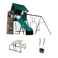 Heavy-Duty Metal Playset with Clubhouse, Picnic Table and Bucket Seat (Earthtone)