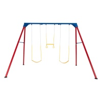 Heavy-Duty A-Frame Metal Swing Set (Primary Colors)