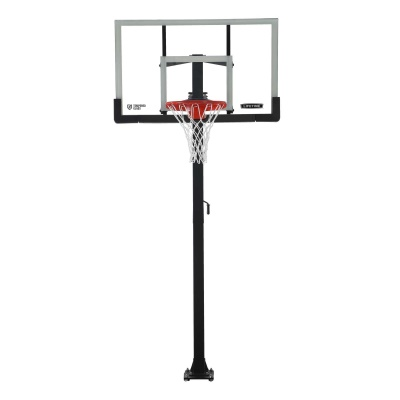 60 In. Tempered Glass Basketball Hoop w/ Bolt Down & Crank Adjust, image 1