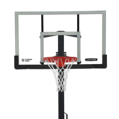 60 In. Tempered Glass Basketball Hoop w/ Bolt Down & Crank Adjust, image 2