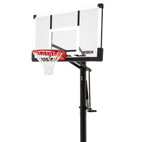 54 in. In-Ground Tempered Rigid Arm Pump Adjust Basketball Hoop, Tempered Glass