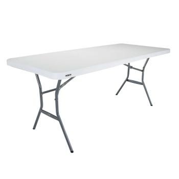 6-Foot Light Commercial Folding Table (white granite)