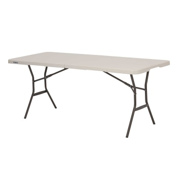 6-Foot Light Commercial Fold-In-Half Table (almond)