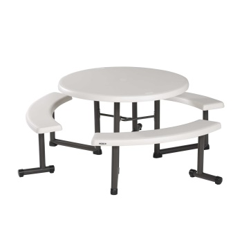 44-Inch Round Picnic Table (almond, 4 Pack)