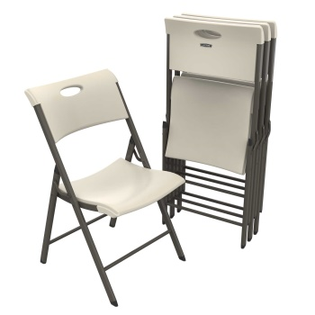 Contemporary Commercial Folding Chair (almond, carry handle, 4-pack)