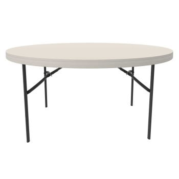 60-Inch Round Commercial Folding Table (almond)