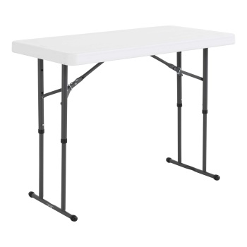 4-Foot Commercial Adjustable Folding Table (white granite)