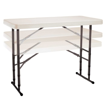 4-Foot Commercial Adjustable Folding Table (almond)